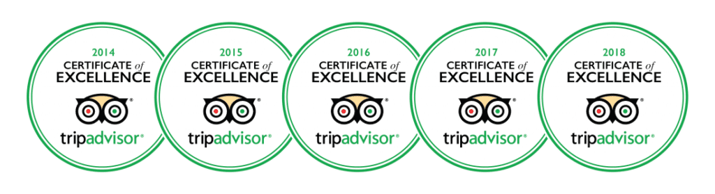 5 Years Trip Advisor Certificate of Excellence